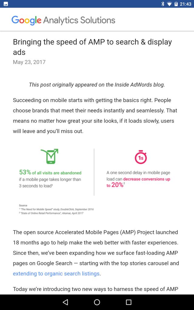 analytics google blog AMP Pages Screenshot 1