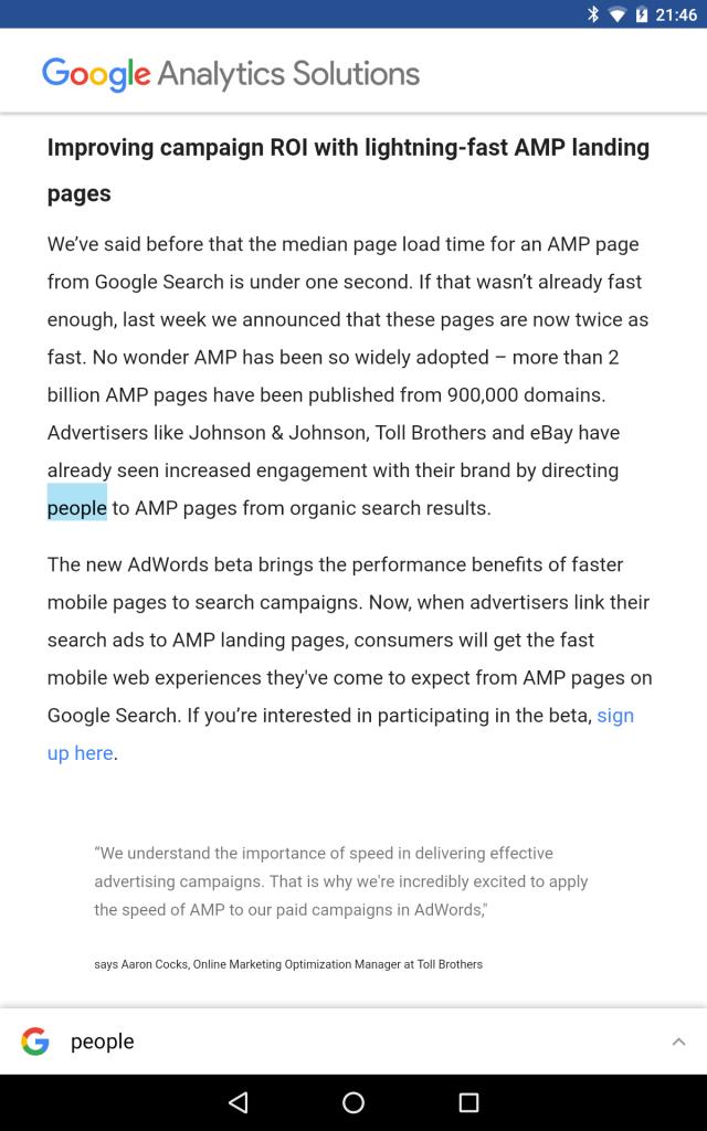 analytics google blog AMP Pages Screenshot 2